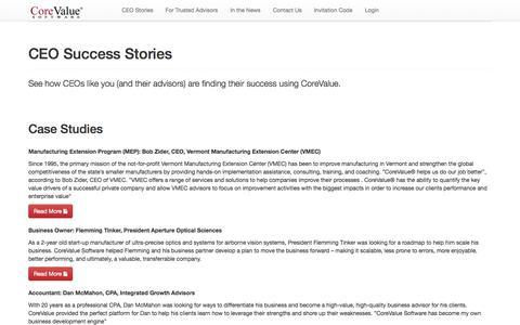 Screenshot of Case Studies Page corevaluesoftware.com - Case Studies - direct - captured Oct. 27, 2014