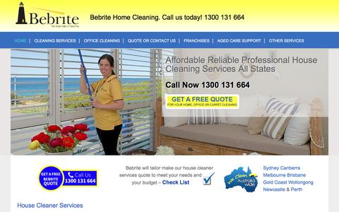 Screenshot of Home Page bebrite.com.au - Bebrite Cleaning Services | Office Cleaning & House Cleaning Services. Trusted for 17+ years throughout Australia. Home, Carpet, Office, Window, Hard Surface Cleaning. Contact Bebrite today. - captured Feb. 7, 2016