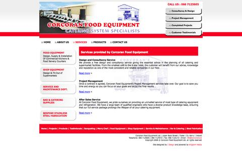 Screenshot of Services Page corcorans.ie - Corcoran Food Equipment - complete food service solutions, specialist design for commercial kitchens & supermarket facilities, quality branded products supply, project management, installation and equipment training - captured Oct. 2, 2014