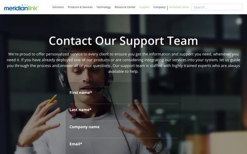 Screenshot of Support Page meridianlink.com - MeridianLink | Support - captured April 30, 2019