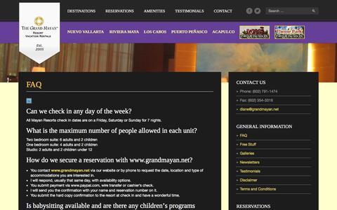 Screenshot of FAQ Page grandmayan.net - FAQ - GRAND MAYAN, Voted the Best Resorts in Latin America, Mexico - captured Feb. 2, 2016