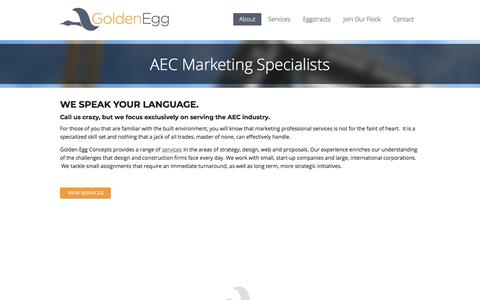 Screenshot of About Page goldeneggconcepts.com - AEC Marketing Services for Architects, Engineers & Contractors | Golden Egg Concepts, LLC - captured July 21, 2018