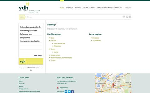 Screenshot of Site Map Page vdh-managers.nl - Sitemap | vdh managers - captured Oct. 18, 2018
