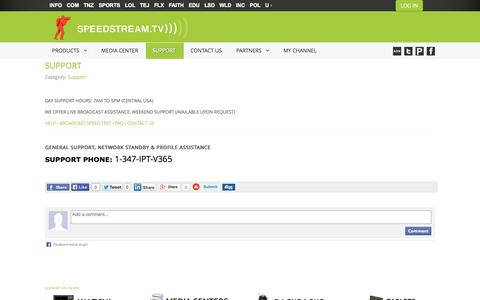 Screenshot of Support Page speedstream.tv - SUPPORT - captured Oct. 3, 2014