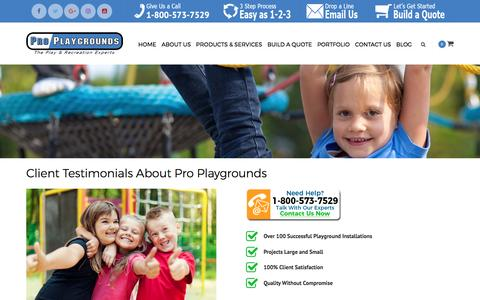Screenshot of Testimonials Page proplaygrounds.com - Client Testimonials About Pro Playgrounds | Pro Playgrounds | The Play & Recreation Experts - captured May 22, 2017