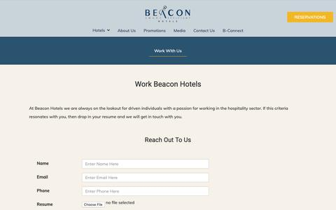 Screenshot of Jobs Page beaconhotels.com - Work With Us | Beacon Hotels - captured Oct. 1, 2018