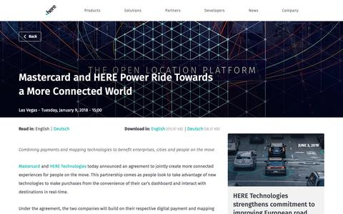 Screenshot of Press Page here.com - Mastercard and HERE Power Ride Towards a More Connected World - captured June 4, 2019