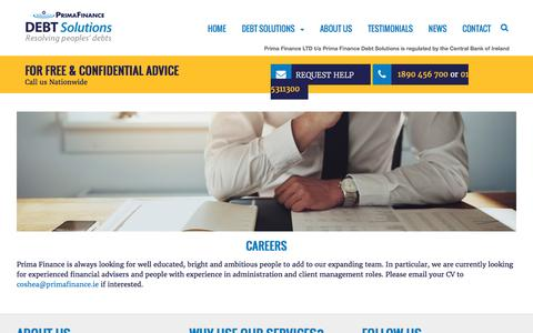 Screenshot of Jobs Page primafinance.ie - Finance Jobs in Kerry with Prima Finance - captured Nov. 11, 2016