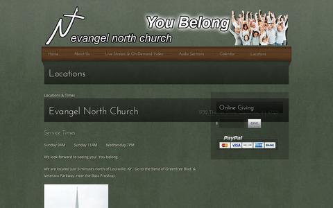 Screenshot of Locations Page evangelnorth.net - Locations | Evangel North Church - captured Aug. 31, 2017