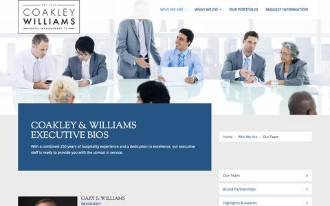 Screenshot of Team Page cwhotels.com - Coakley & Williams Executive Bios - captured Sept. 28, 2018