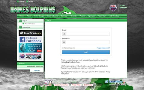 Screenshot of Login Page teamunify.com - Haines Dolphins Swim Team : Sign In - captured June 13, 2016