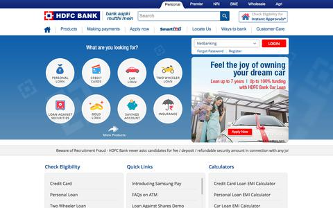 Screenshot of Home Page hdfcbank.com - HDFC Bank: Personal Banking Services - captured July 7, 2017