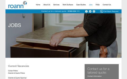 Screenshot of Jobs Page roann.co.uk - Jobs - Roann - captured Sept. 21, 2018