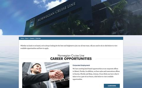Screenshot of Jobs Page ncl.com - Careers, Jobs & Employment Opportunities | Join The NCL Freestyle Cruising Team | Norwegian Cruise Line - captured Oct. 31, 2017