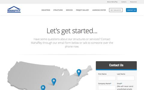 Screenshot of Contact Page mahaffeyusa.com - Contact - captured June 10, 2016