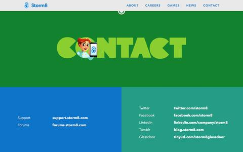 Screenshot of Contact Page storm8.com - Storm8 –  Contact - captured Feb. 17, 2016