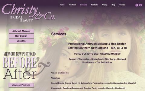 Screenshot of Services Page makeup-artistry.com - Airbrush Makeup & Bridal Hair Design Services | Christy & Co. - captured Feb. 3, 2016