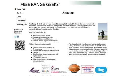 Screenshot of Home Page freerangegeeks.com - Free Range Geeks - captured Sept. 30, 2014