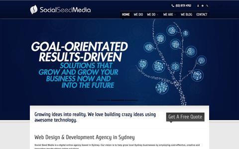 Screenshot of Home Page socialseedmedia.com.au - Web Design, Development, Logos in Sydney | Social Seed Media - captured Sept. 30, 2014