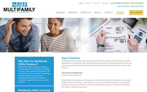 Screenshot of Jobs Page multifamilyutility.com - Employment and Career Opportunities | Multifamily Utility Company - captured Aug. 18, 2018