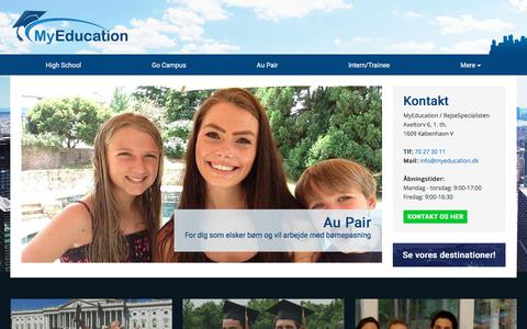 Screenshot of Home Page myeducation.dk - Bliv udvekslingsstudent og gå i skole i udlandet - MyEducation - MyEducation - captured Nov. 11, 2017