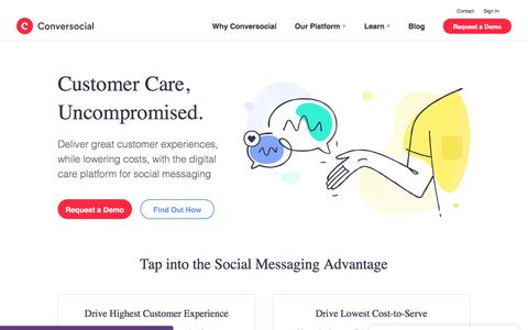 Screenshot of Home Page conversocial.com - Conversocial | The Digital Customer Service Platform for Social Messaging - captured July 7, 2018