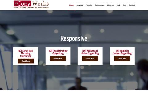 Screenshot of Home Page thecopyworks.com - Business Copywriting & B2B Marketing Content by The Copy Works - captured Jan. 11, 2016