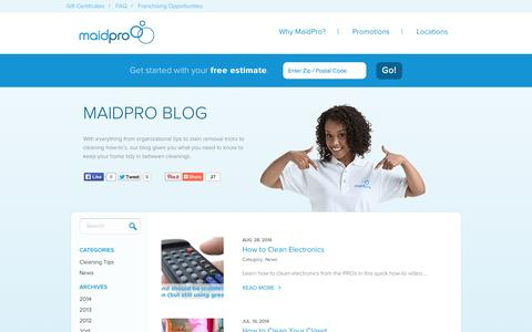 Screenshot of Blog maidpro.com - MaidPro Blog | House Cleaning & Home Organization Blog - captured Sept. 19, 2014
