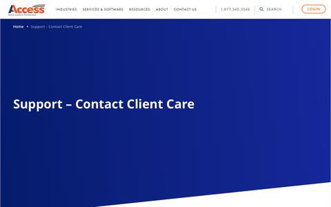 Screenshot of Support Page accesscorp.com - Support - Contact Client Care - Access - captured June 5, 2018