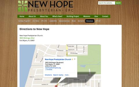 Screenshot of Maps & Directions Page newhopefortmyers.org - Directions to New Hope | New Hope Presbyterian Church - captured Feb. 18, 2016