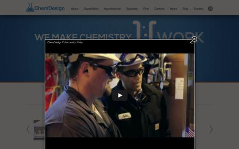 Screenshot of Home Page chemdesign.com - Tolling Manufacturing | Ag Supply | Research Chemicals | Global Chemical Resources | Chemical Engineering - captured Dec. 8, 2015