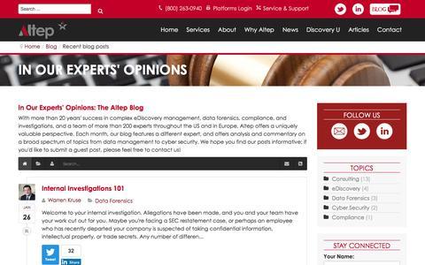 Screenshot of Blog altep.com - Recent blog posts - Altep, Inc. - In Our Experts' Opinions: The Altep Blog - captured Feb. 2, 2016