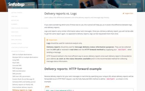 Delivery reports vs. Logs · SMS API | Infobip