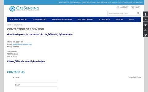 Screenshot of Contact Page gas-sensing.com - Gas Sensors Contact Us  - Gas-Sensing.com - captured July 8, 2018