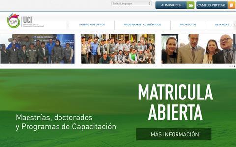 Screenshot of Home Page uci.ac.cr - Inicio - Universidad para la Cooperación Internacional - captured Feb. 13, 2016