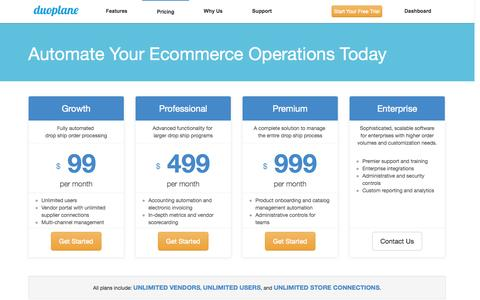 Screenshot of Pricing Page duoplane.com - Pricing and Plans - Duoplane Commerce - captured Sept. 22, 2014