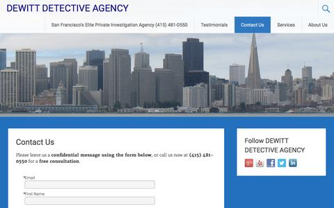 Screenshot of Contact Page sfdetective.com - Contact Us - DEWITT DETECTIVE AGENCY - captured Feb. 15, 2016