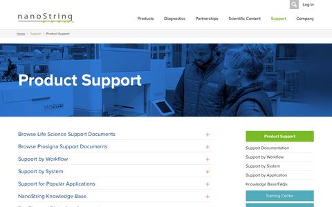 Screenshot of Support Page nanostring.com - Product Support   NanoString Technologies - captured May 9, 2017