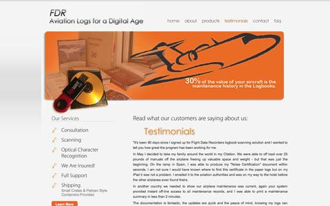 Screenshot of Testimonials Page flightdatarecorders.net - FDR - Aviation Logs for a Digital Age  | Home - captured Sept. 30, 2014