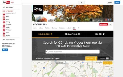 Screenshot of YouTube Page youtube.com - CENTURY 21  - YouTube - captured Oct. 22, 2014