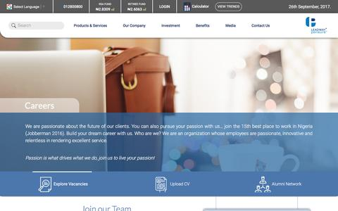 Screenshot of Jobs Page leadway-pensure.com - Careers | Leadway Pensure - captured Sept. 26, 2017
