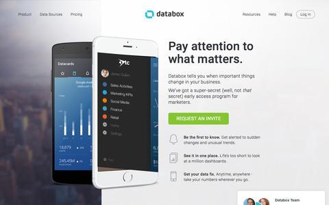 Screenshot of Home Page databox.com - Analytics   KPI Dashboard   Databox - captured Nov. 6, 2015