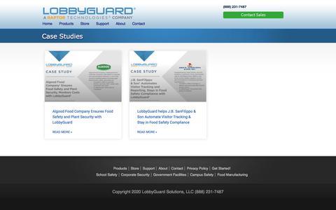 Screenshot of Case Studies Page lobbyguard.com - Case Studies   LobbyGuard - captured Jan. 21, 2020