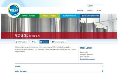 Screenshot of Press Page birkocorp.com - Birko Newsroom | Birko Corp - captured Oct. 6, 2018