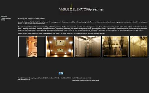 Screenshot of Home Page Site Map Page vasileelevator.com - Vasile Elevator, Inc - Custom Elevator Interiors, Manufacturing and Accessories - captured Oct. 7, 2014