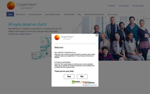 Screenshot of Home Page coopervision.com captured Oct. 26, 2015