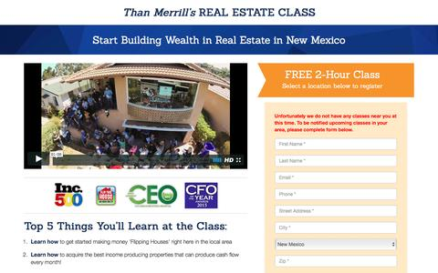Screenshot of Landing Page fortunebuilders.com - Than Merrill's Real Estate Class - captured May 20, 2016