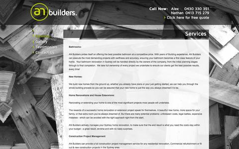 Screenshot of Services Page anbuilders.com.au - Granny Flats & Extensions AN Builders Sydney - captured Feb. 4, 2016