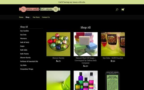 Screenshot of Products Page galenacandle.com - Products | Galena Candle & Bath Company - captured Jan. 25, 2016