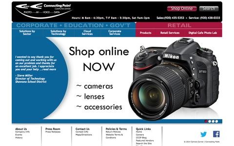 Screenshot of Home Page cccp.com - Welcome to Camera Corner Connecting Point - captured Oct. 2, 2014